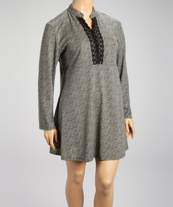 Gray Herringbone & Lace Shift Dress - Plus