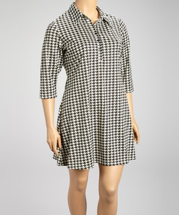 Black Houndstooth Shift Dress - Plus