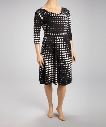 Black Gradient Dot Cowl Neck Dress - Plus