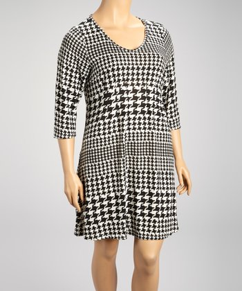 Black & White Houndstooth Three-Quarter Sleeve Dress - Plus