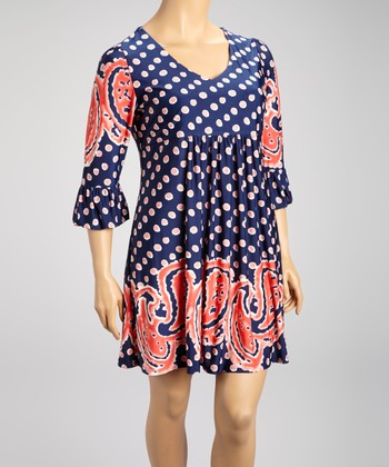 Navy & Coral Polka Dot Paisley Three-Quarter Sleeve Dress - Plus