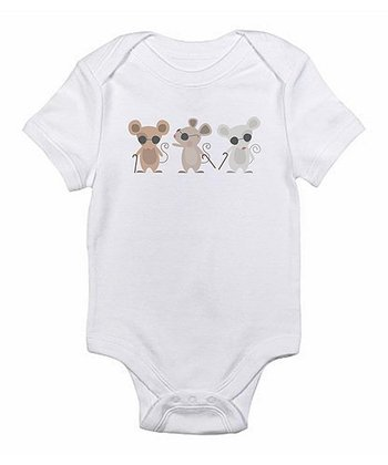 White Three Blind Mice Bodysuit