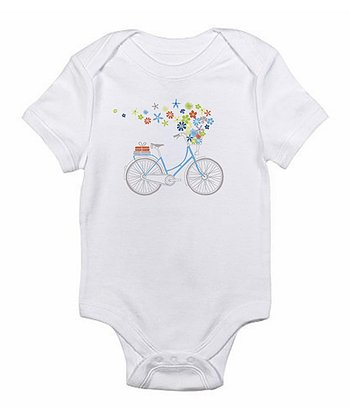White Flower Bicycle Bodysuit - Infant