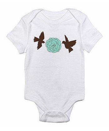 White Birds & Flower Bodysuit - Infant