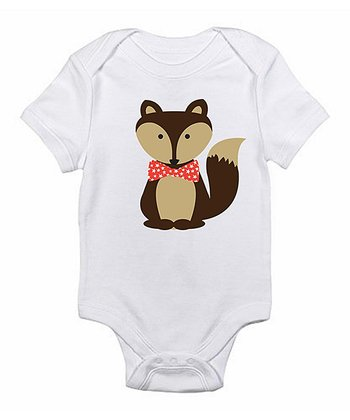 White Bow Tie Fox Bodysuit - Infant