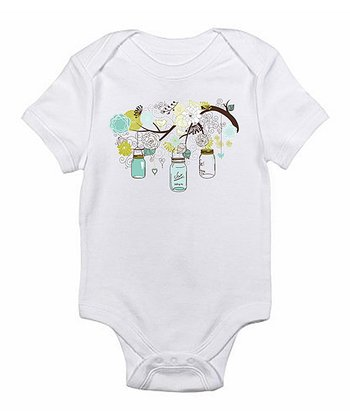 White Mason Jar Flowers Bodysuit - Infant