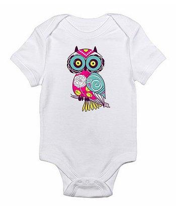 White & Pink Owl Bodysuit