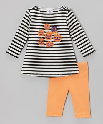 Black Pumpkin Party Dress & Orange Leggings - Infant, Toddler & Girls