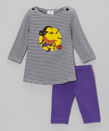 Gray Cat Witch Dress & Purple Leggings - Infant & Girls