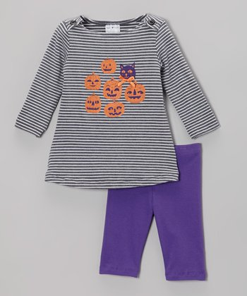 Purple Jack-o'-Lantern Dress & Leggings - Infant, Toddler & Girls