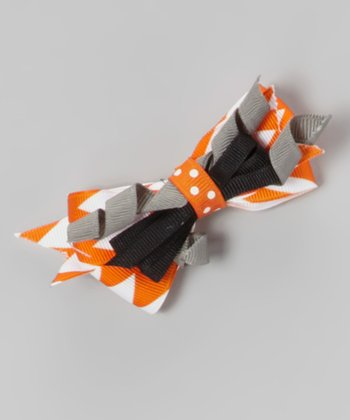 Black & Orange Twist Hair Bow