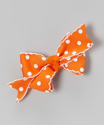Orange & White Polka Dot Hair Bow