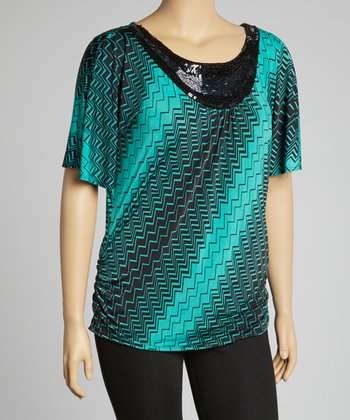 Green Geometric Sequin Top - Plus
