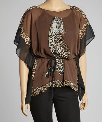 Brown & Taupe Leopard Sheer Cape-Sleeve Top - Plus