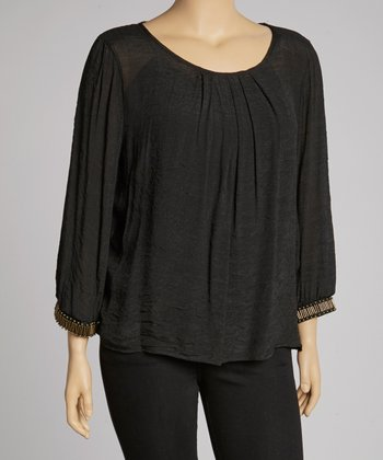 Black Pleated Tunic - Plus