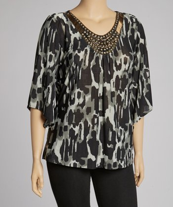 Gray Jungle Embellished Tunic - Plus