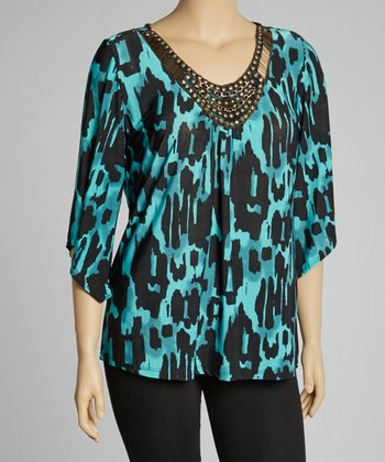 Aqua Jungle Embellished Tunic - Plus
