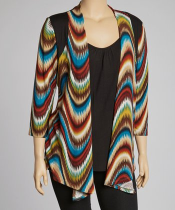 Blue & Black Illusion Layered Top - Plus