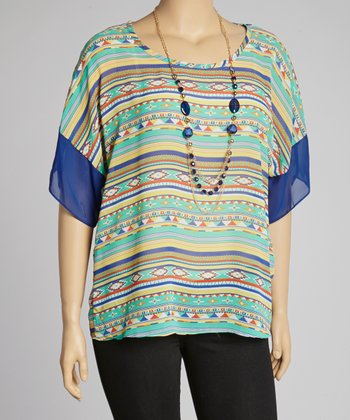 Blue Tribal Tunic & Necklace - Plus