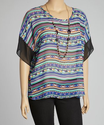 Black Tribal Tunic & Necklace - Plus