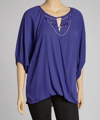 Purple Drape Tunic & Necklace - Plus