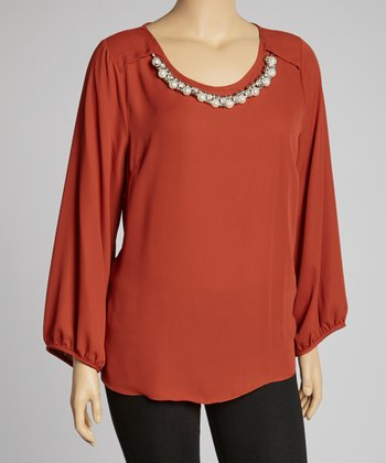 Rust Tunic & Necklace - Plus