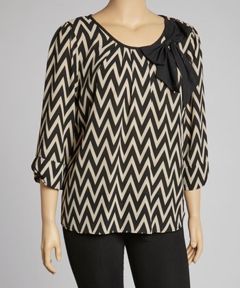Taupe Zigzag Tunic - Plus
