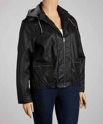 Black Hooded Faux Leather Jacket - Plus