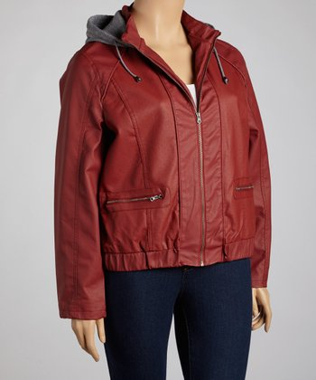 Red Hooded Faux Leather Jacket - Plus