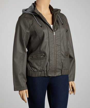Charcoal Hooded Faux Leather Jacket - Plus