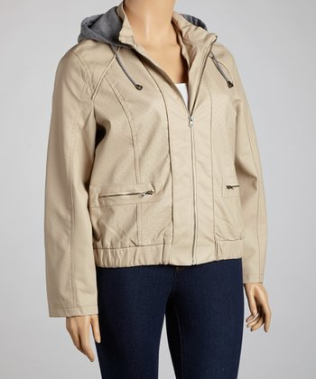 Oatmeal Hooded Faux Leather Jacket - Plus