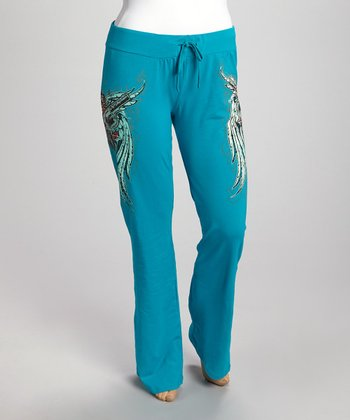 Turquoise Wings Rhinestone Lounge Pants - Plus