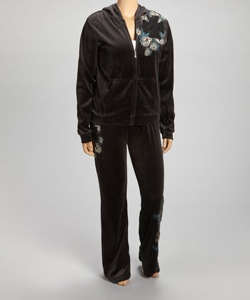 Black & Blue Rose Zip-Up Hoodie & Lounge Pants - Plus