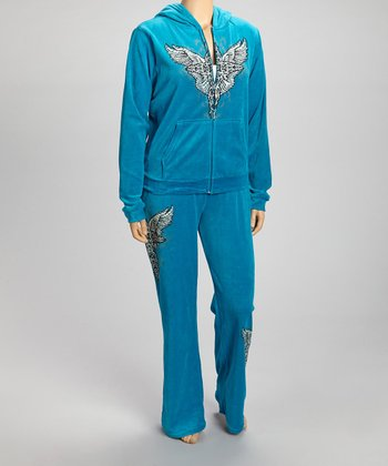 Turquoise Cross Zip-Up Hoodie & Lounge Pants Set - Plus