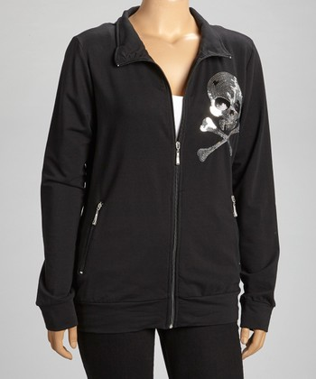 Black Silver Sequin Skull Track Jacket - Plus