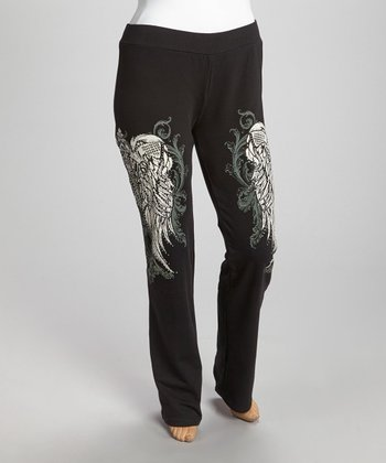 Black Wings Yoga Pants - Plus