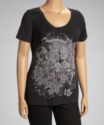 Black Marilyn Monroe Short-Sleeve Top - Plus