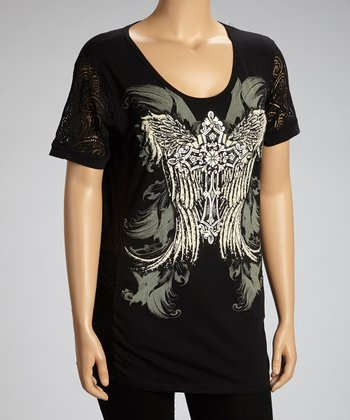 Black Cross Wing Mesh-Side Top - Plus