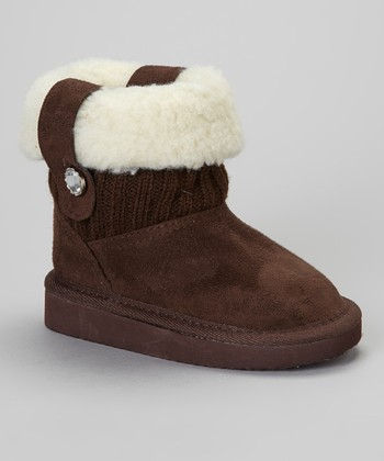 Brown Fold-Over Faux Shearling Boot