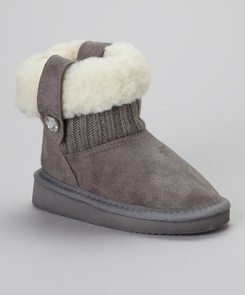 Gray Fold-Over Faux Shearling Boot