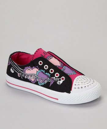 Black & Fuchsia 'Love' Slip-On Sneaker