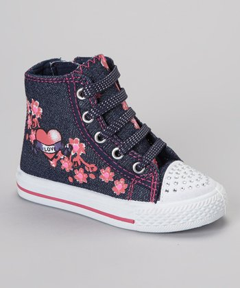 Blue Flower Hi-Top Sneaker