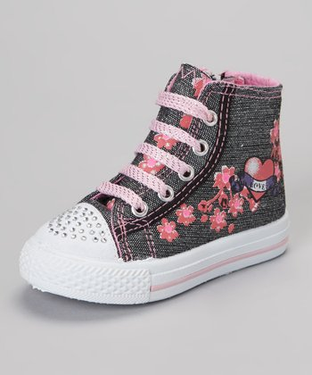 Pink Flower Hi-Top Sneaker
