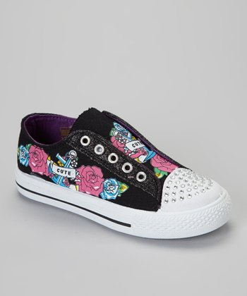 Black 'Cute' Slip-On Sneaker