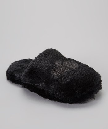 Black Fuzzy Heart Slipper