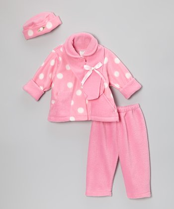 Light Pink Polka Dot Fleece Pants Set - Infant