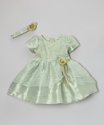 Sage Sequin Dress & Headband - Infant & Toddler