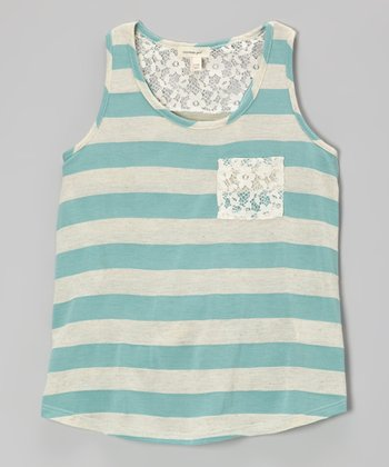 Heather Mint & Ivory Stripe Lace Racerback Tank