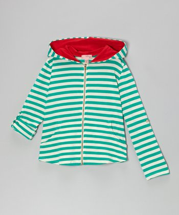 Green & Ivory Stripe Zip-Up Hoodie