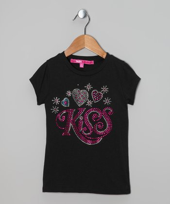 Black Sequin 'Kiss' Tee